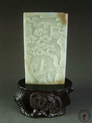 Antique Old Chinese Celadon Nephrite Jade Carved Statue OLD MAN & PINE W/ STAND
