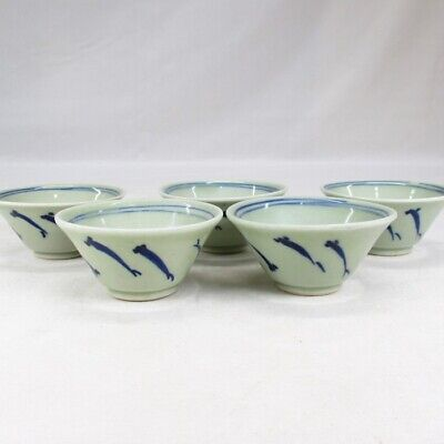 F207: Chinese blue-and-white porcelain five tea cups for SENCHA green tea