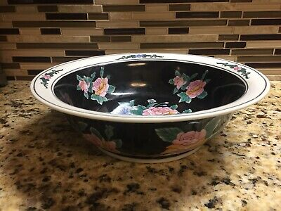 """Antique Vintage Old Chinese Hand Painted Flowers Porcelain Ceramic 12"""" Bowl"""