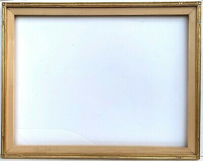"ARTS & CRAFTS STYLE 35"" x 27"" CARVED GILT PICTURE FRAME with FITTED STRETCHER"