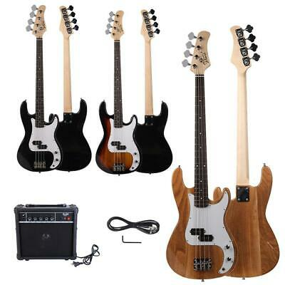 New Black Sunset Natural Basswood 4 Strings Electric Guitar Bass W/ 20W AMP