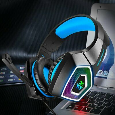 Blue 3.5mm Gaming Music LED Mic Headphone For PC Mac NS Laptop PS4 Xbox One