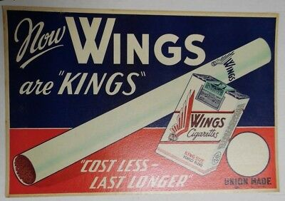 "Wings Red/Blue Thick 18""x12"" Original Cigarette Advert Poster Circa 1930/40"