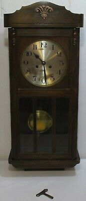 Vintage Wooden Case Pendulum Mechanical Chiming Wall Clock Made in Germany