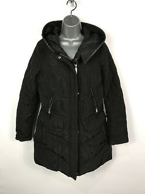 Womens Next Petite Black Zip Up Padded Quilted Hooded Winter Coat Jacket  Uk 12