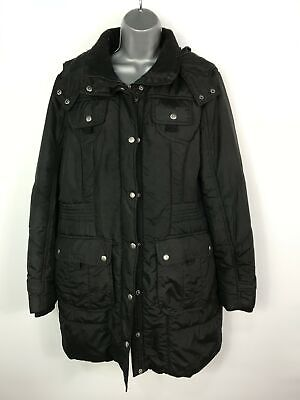 Womens Next Black Zip Up Quilted Padded Hooded Winter Coat Jacket Size Uk 18