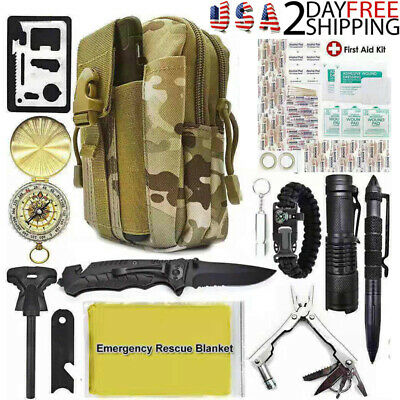 40 In 1 Survival Kit Military Tactical Gear Outdoor Camping Emergency Rescue Bag