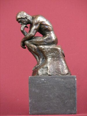 """Signed Bronze Sculpture Rodin Classic """"The Thinker"""" Statue On Marble Base"""