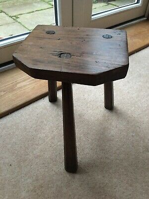 VICTORIAN ? Bespoke 6 SIDED Wooden 3 Leg Milking Stool. From the Yorkshire Dales