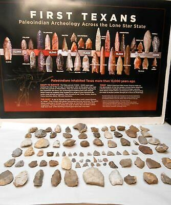 Central Texas Paleo Period Arrowheads & Tools with FREE Paleo Archeology Poster
