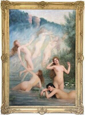 Water Nymphs Antique Oil Painting by Louis Perrey (French, b.1856)