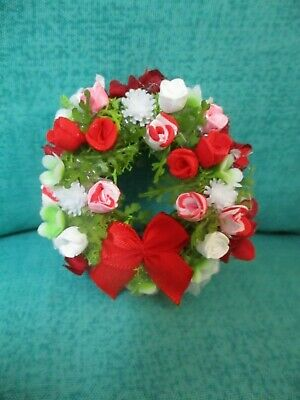 "Miniature Doll//dollhouse 2/"" wreath//assorted floral design #22"
