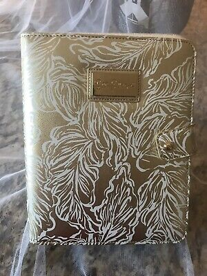 NWT *LILLY PULITZER* AGENDA FOLIO GOLD WHITE LEAF LEATHERETTE/suede, Gorgeous