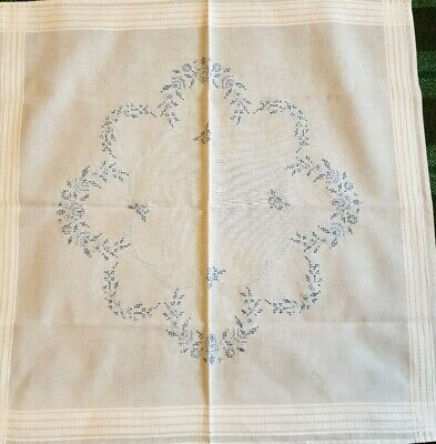 """Vintage hand embroidered small tablecloth. Blue flowers cross stitch 30"""" sq"""