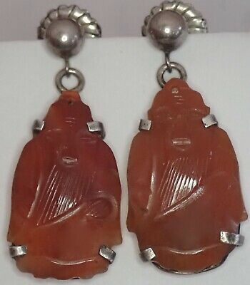 Antique Chinese Sterling Silver Carved Orange Jade Wise Man Earrings