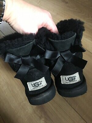Ugg Original Girls Bailey Bow Boots. Size 11, Black, No Box