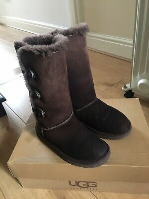 Girls Ugg Australia Bailey Button Triplet Boots Chocolate UK Size 1