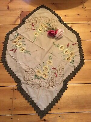 Antique Victorian Tablecloth Embroidered Sunflowers Needlework Metalwork Trim #K