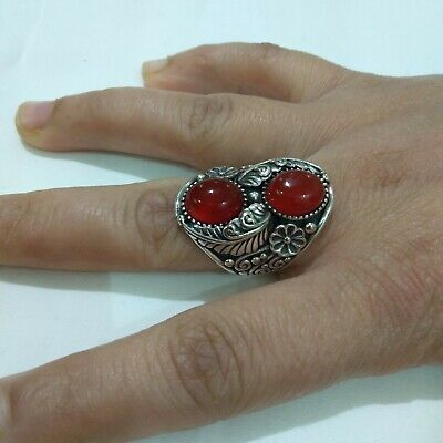 Ancient Victorian Sterling Silver Ring Natural Carnelian stone Old Rare Vintage