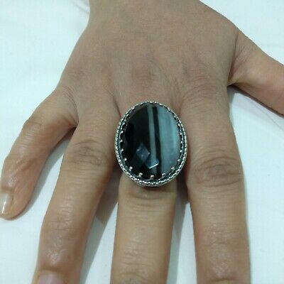 Ancient Victorian Silver Ring Agate Stone Rare Antique Old vintage bohemian