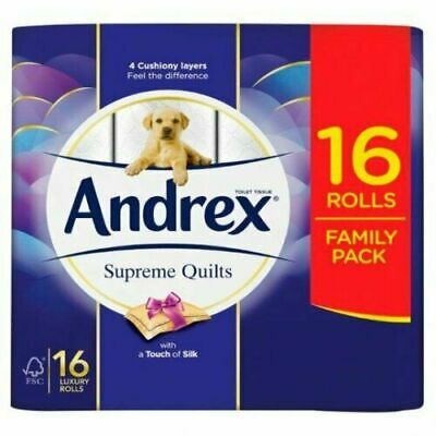Andrex 4475502 Quilts 16 Toilet Tissue Paper Rolls - White