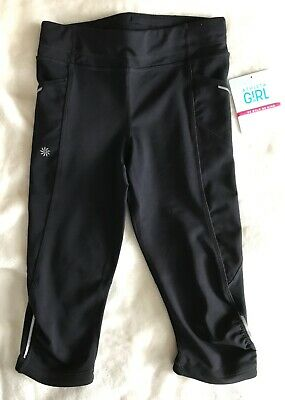 "Athleta Girls ""Be Bold Knicker"" Capri Leggings Black Size M Medium (8-10) NWT"