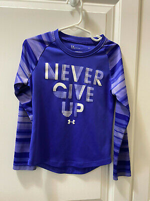 "Girls long sleeve Purple Under Armour Shirt Size 5 ""Never Give Up"""