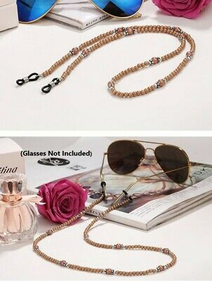 Sunglasses Eye Glasses Holder Necklace Gold Brown & Silver Crown dg-0087-1c -No1