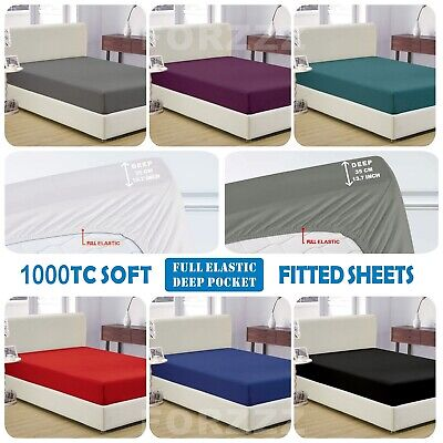 1000TC Soft FITTED SHEET For Single/KingSingle/Double/Queen/King/SuperKing Bed