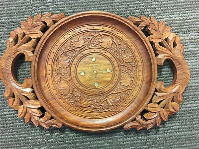 Rare Vintage Engraved Brass Wood Food Fruit Vegetable Tray Intricate Carving