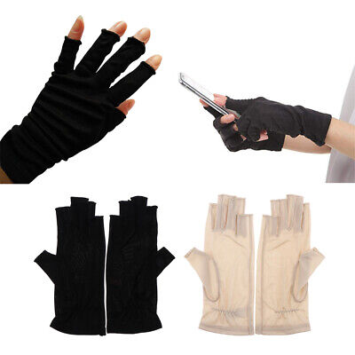 Womens Mulberry Silk Thin Glove Half Gloves for Ski Motorcycle UV Sun Protection
