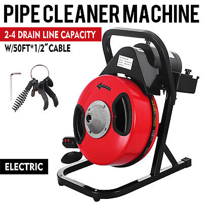 50ft x 1/2'' Drain Auger Electric Cleaner Machine Snake Sewer Clog W/ 5 Cutter