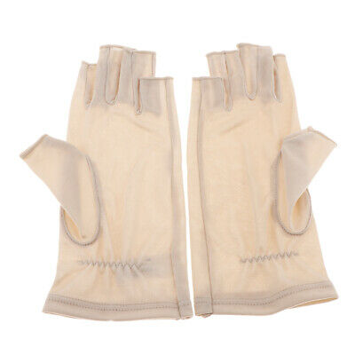 Mulberry Silk Thin Glove Half Gloves for Ski Motorcycle UV Sun Protection Beige