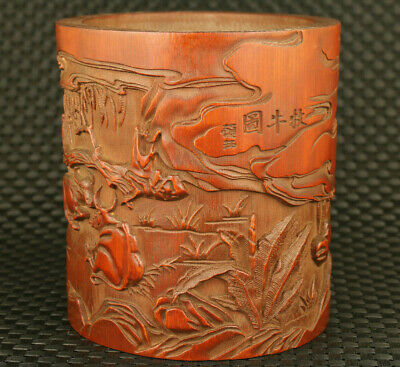 old Chinese boxwood hand caved child cowherd statue brush pot decoration gift