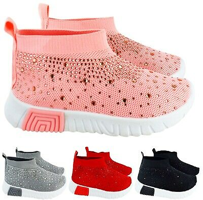 Kids Girls Infants Childrens Hi Top Sock Diamante Sneakers Canvas Trainers Shoes