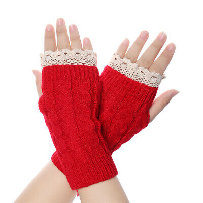 Warm Elastic Long Knitted Gloves Arm Warmers Lace Flower Fingerless Mittens