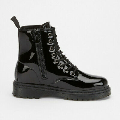 women black patent lace up military ankle boots fashion inside zip tread sole