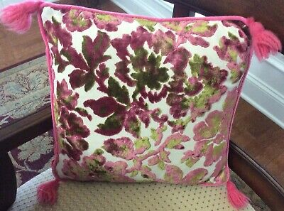 "Retro Vtg Pink Green Velour Velvet Boudoir Pillow 15"" Square Tassels Zipper"