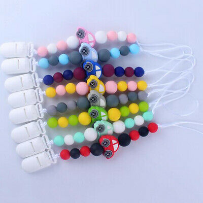 Baby Silicone Teething Soother Beads Dummy Clip Pacifier Chain Chew Toy Newly