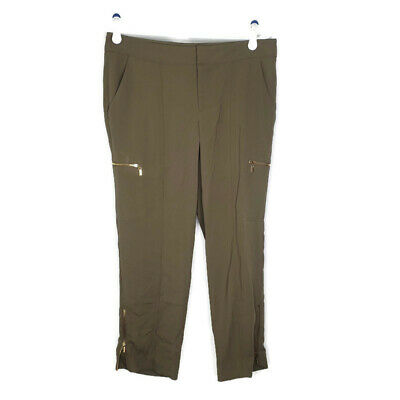 Cache' Womens Army Olive Green Pants Trouser Career Gold Ankle Zippers Size 6