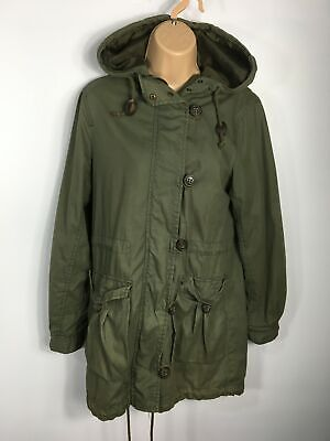 Womens H&M Dividend Khaki Green Light Weight Hooded Jacket Parka Casual Size 6