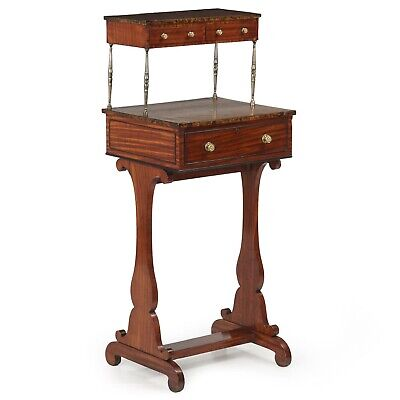 ANTIQUE WRITING DESK | English Regency Walnut & Mahogany Table | 19th Century
