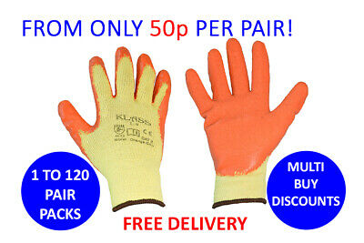 Orange Latex Coated Safety Work Gloves Builders, Gardening, Scaffolding