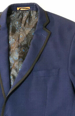 Tallia Men's 48R Contrast Trim Blue Heavy Sport Coat, Blazer Paisley Lined