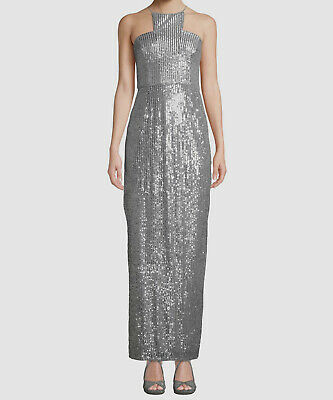 $395 Adrianna Papell Womens Silver Sequin Embellished Cutaway Gown Dress Size 14