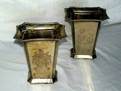 Pair Of Antique European Silverplate Tall Vases