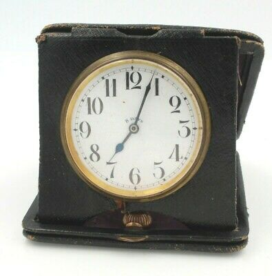 Antique Brevet 8 Day Travel Clock With Leather Case/ Stand No Reserve #7208-6