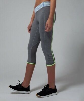 Ivivva Girls Size 14 Quick Trip Crop Grey Workout Leggings With Neon Trim Athlet