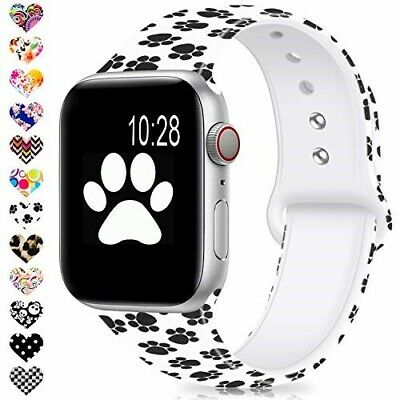 Apple Watch Band :42-44mm Silicone Fadeless Dog Paw Band for Series 4/3/2/1
