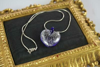 Vintage Murano Heart Art Glass Pendant 925 Sterling Silver Necklace